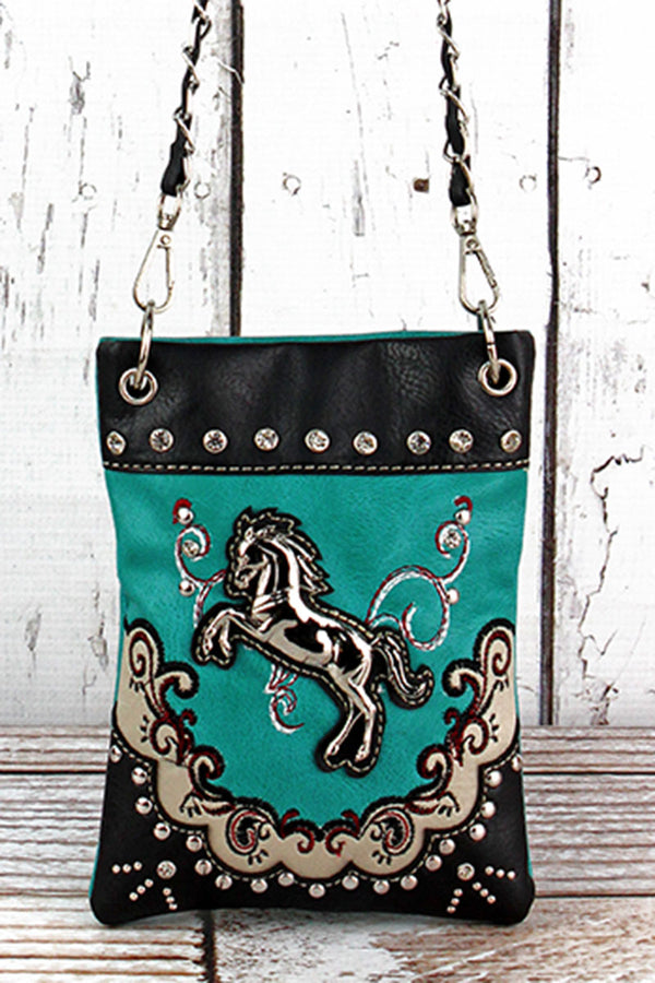 Western Horse Turquoise Faux Leather Petite Crossbody