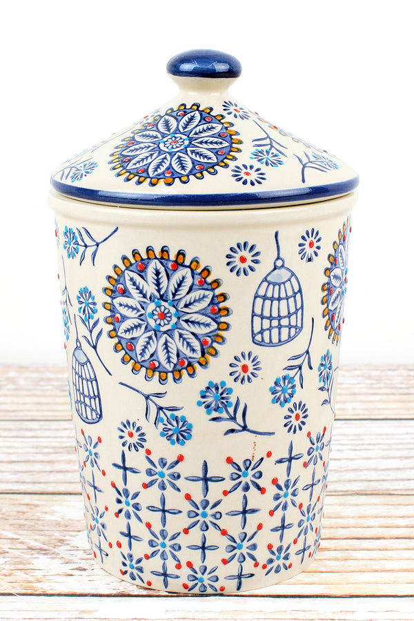 Madrid Floral Stoneware Goodie Jar, 8.5""