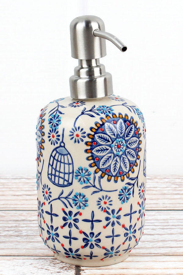 Madrid Floral Stoneware Soap/Lotion Dispenser, 7.5""
