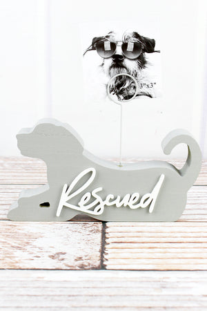 5.75 x 7.5 'Rescued' Wood Dog Shaped Photo Clip