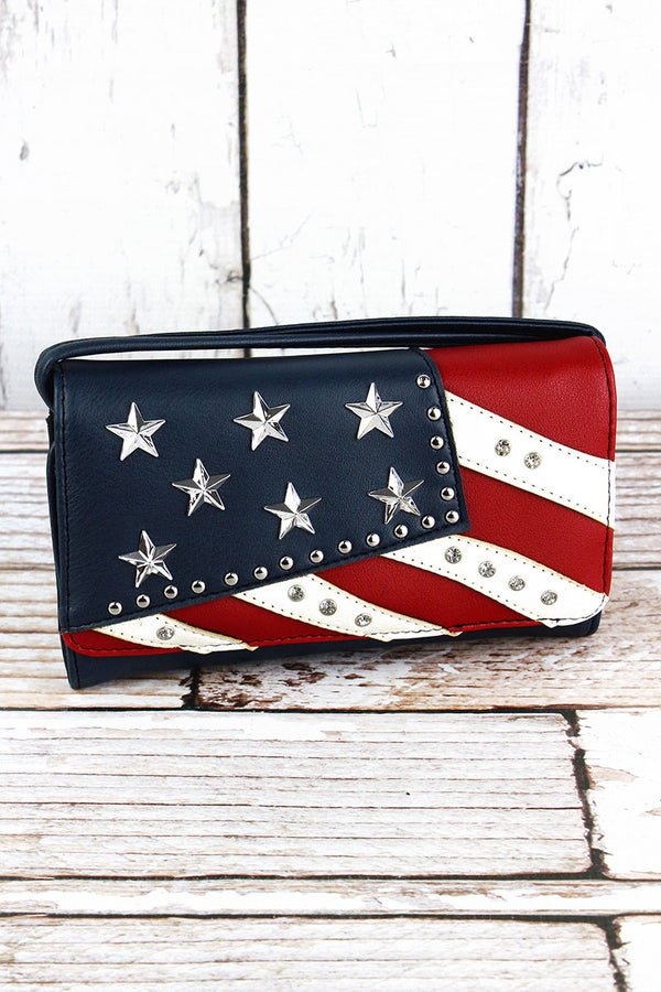 Studded Stars and Stripes Faux Leather Crossbody Wallet