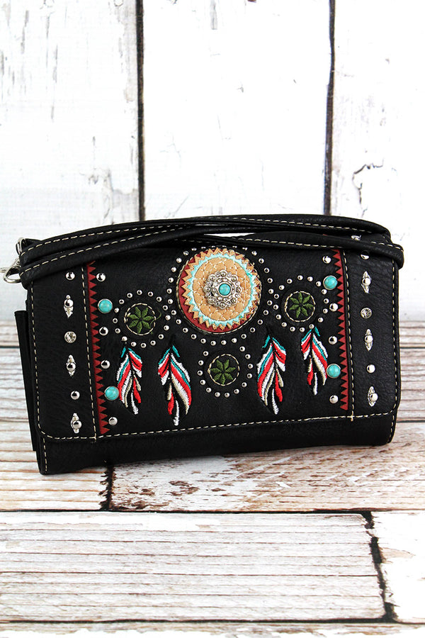 Western Dream Catcher Black Faux Leather Crossbody Wallet