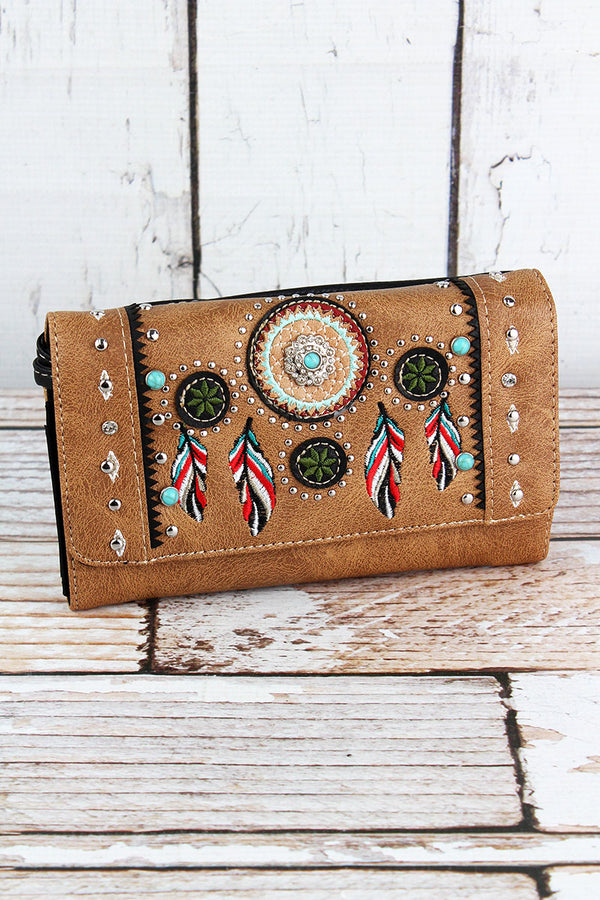Western Dream Catcher Tan Faux Leather Crossbody Wallet