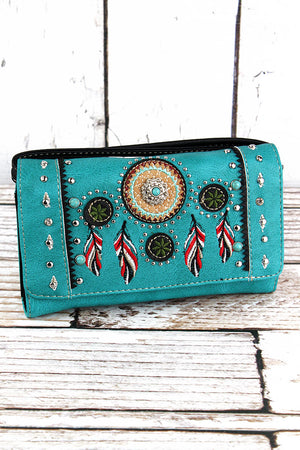 Western Dream Catcher Turquoise Faux Leather Crossbody Wallet
