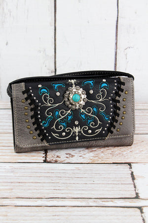 Western Concho Black and Gray Faux Leather Crossbody Wallet