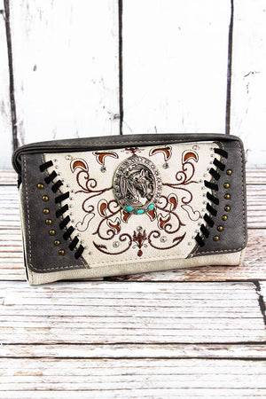 Western Framed Horse Beige and Gray Faux Leather Crossbody Wallet