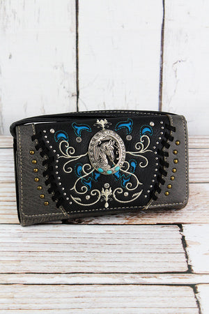 Western Framed Horse Black and Gray Faux Leather Crossbody Wallet