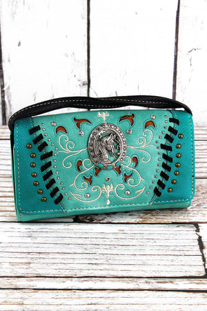 Western Framed Horse Turquoise Faux Leather Crossbody Wallet