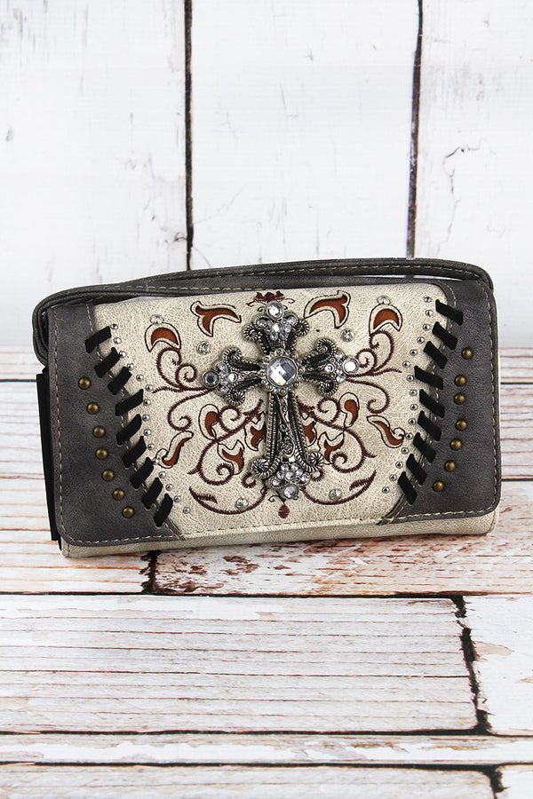 Western Cross Beige and Gray Faux Leather Crossbody Wallet