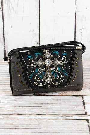 Western Cross Black and Gray Faux Leather Crossbody Wallet