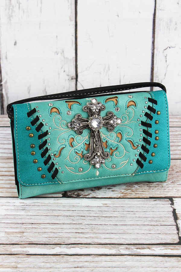 Western Cross Turquoise Faux Leather Crossbody Wallet