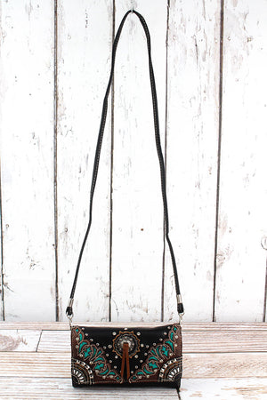 Western Bolo Tie Black Faux Leather Crossbody Wallet