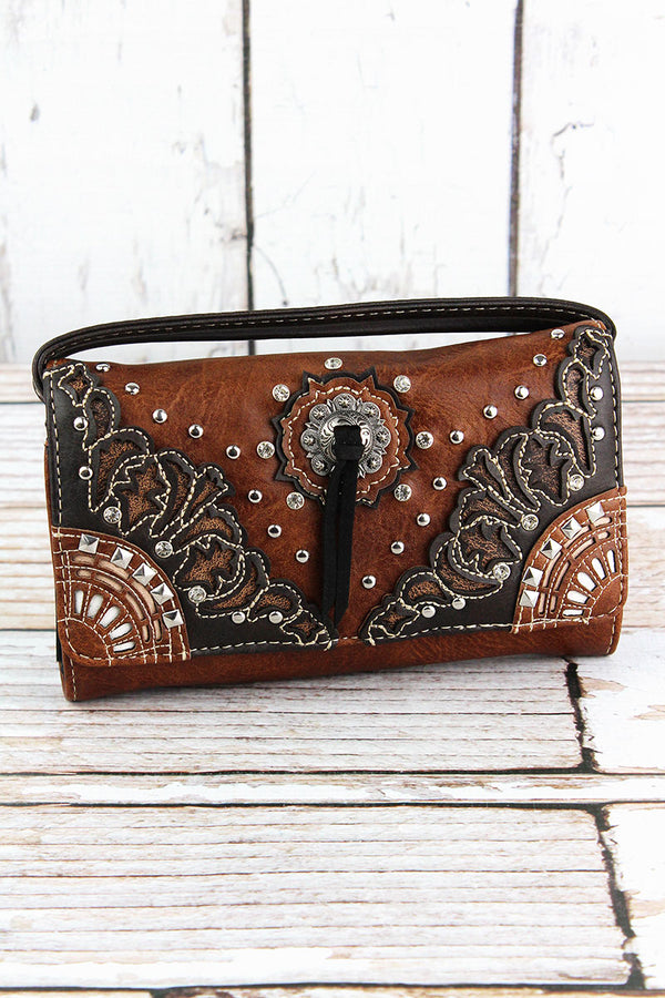 Western Bolo Tie Brown Faux Leather Crossbody Wallet