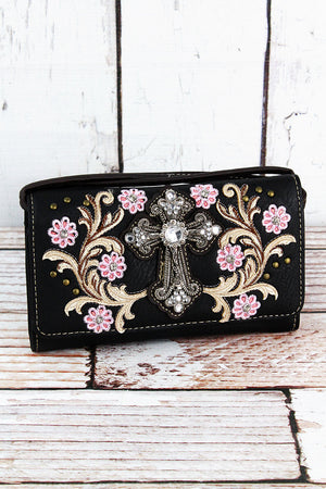 Western Cross and Flowers Black Faux Leather Crossbody Wallet