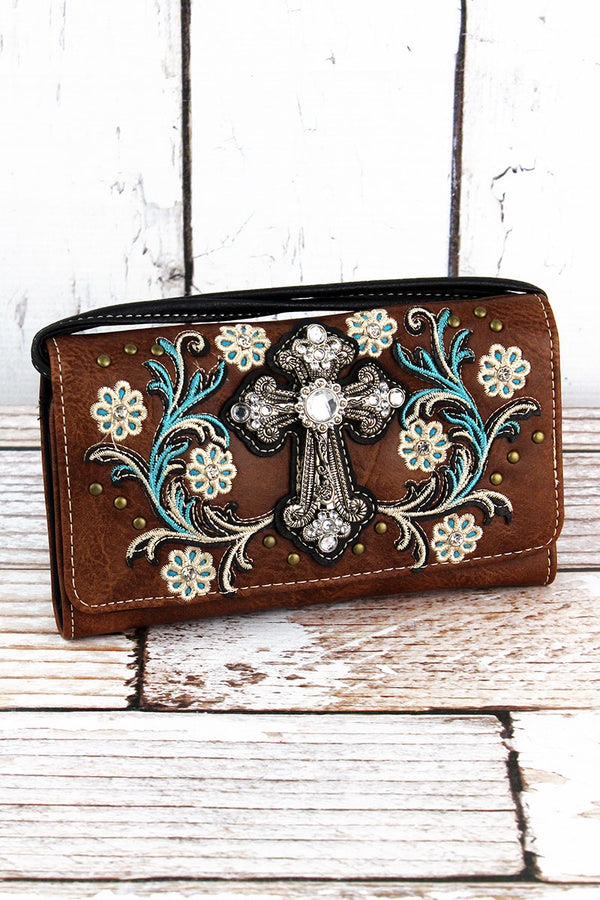 Western Cross and Flowers Brown Faux Leather Crossbody Wallet