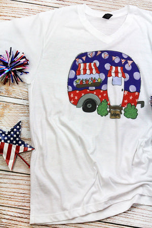 Patriotic Camper Unisex Poly-Rich Blend V-Neck Tee