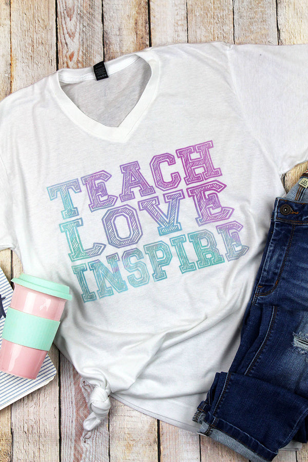 Teach Love Inspire Unisex Poly-Rich Blend V-Neck Tee