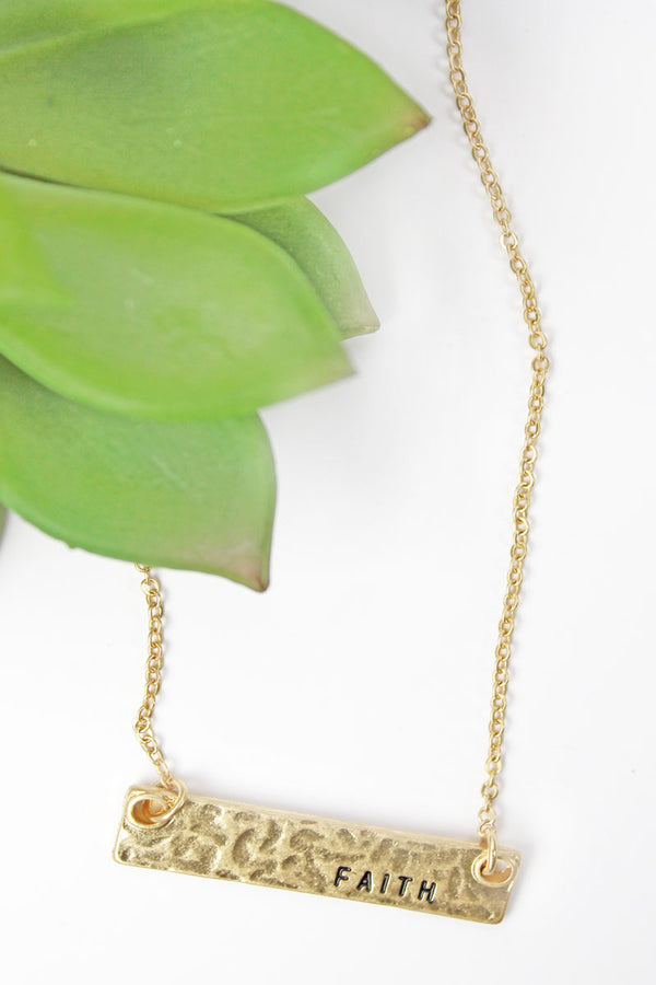 Crave Goldtone 'Faith' Bar Necklace