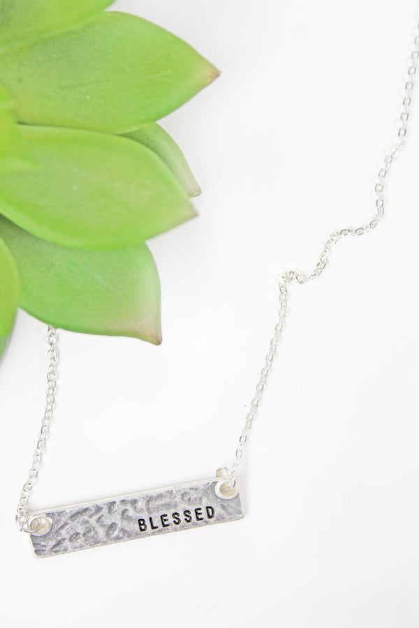 Crave Silvertone 'Blessed' Bar Necklace