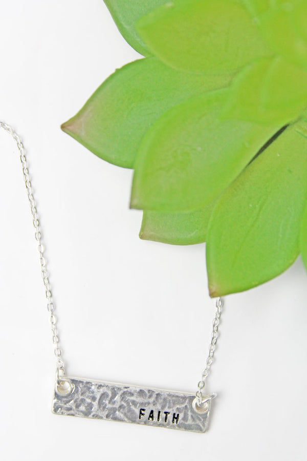 Crave Silvertone 'Faith' Bar Necklace