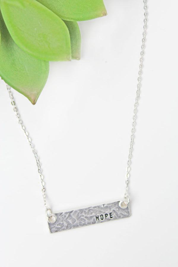 Crave Silvertone 'Hope' Bar Necklace
