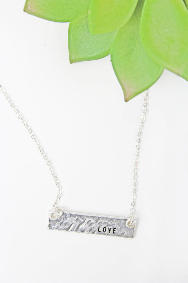 Crave Silvertone 'Love' Bar Necklace