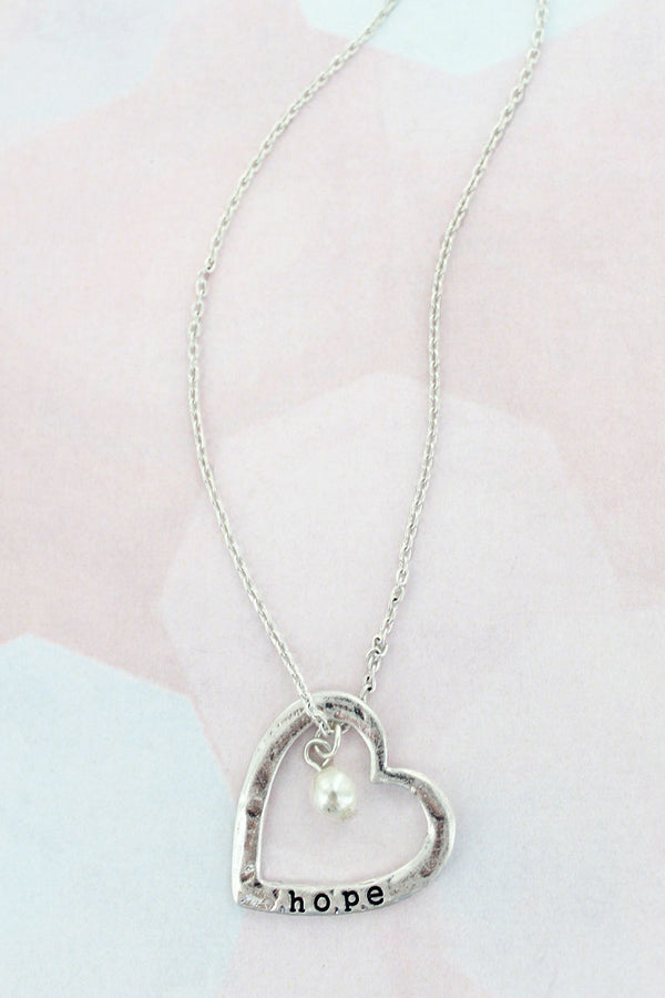 Worn Silvertone 'Hope' Heart Necklace