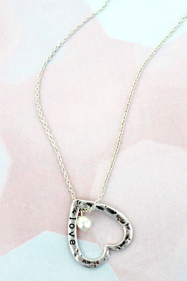 Worn Silvertone 'Love' Heart Necklace