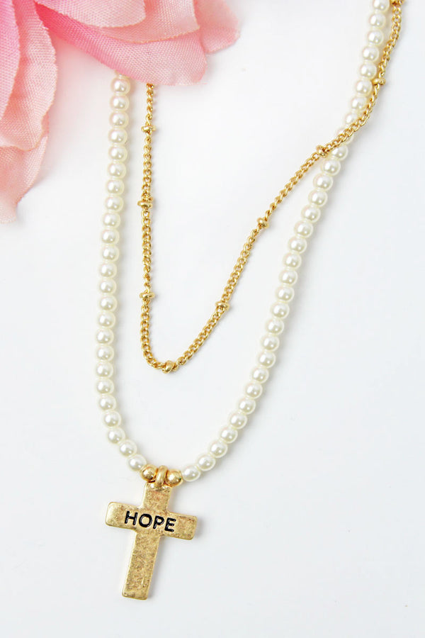 Crave Layered Pearl and 'Hope' Cross Goldtone Necklace