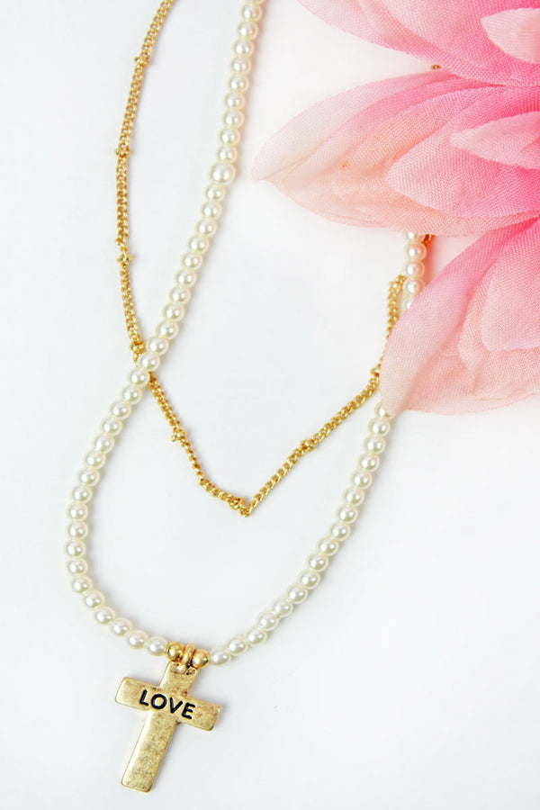 Crave Layered Pearl and 'Love' Cross Goldtone Necklace