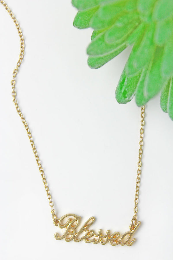 Crave Goldtone 'Blessed' Script Necklace