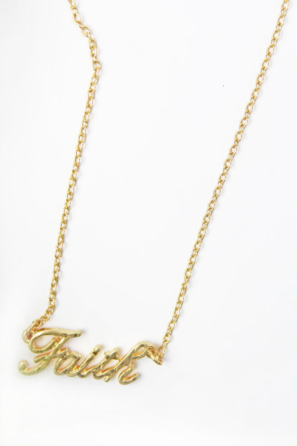 Crave Goldtone 'Faith' Script Necklace