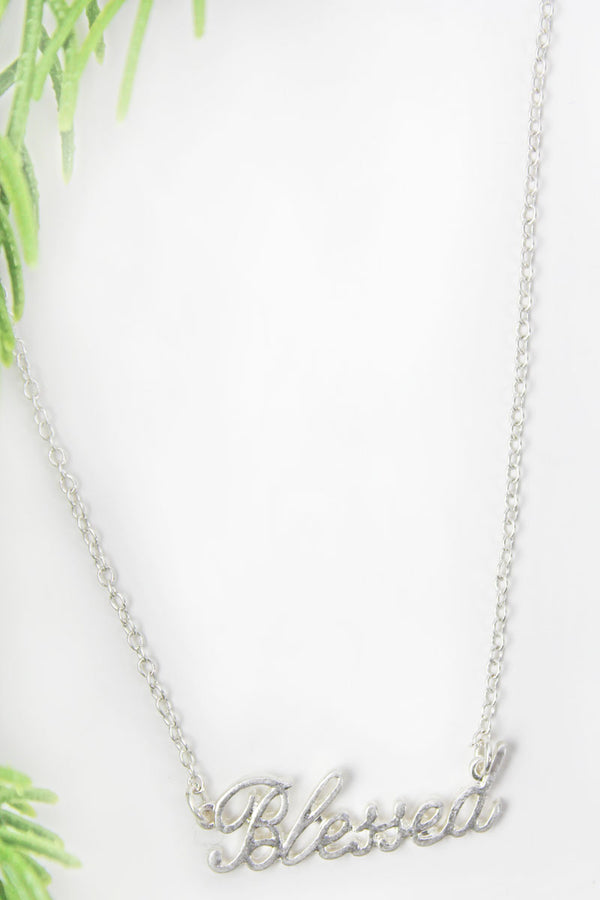 Crave Silvertone 'Blessed' Script Necklace