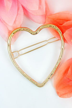 Crave Hammered Goldtone Open Heart Snap Hair Clip