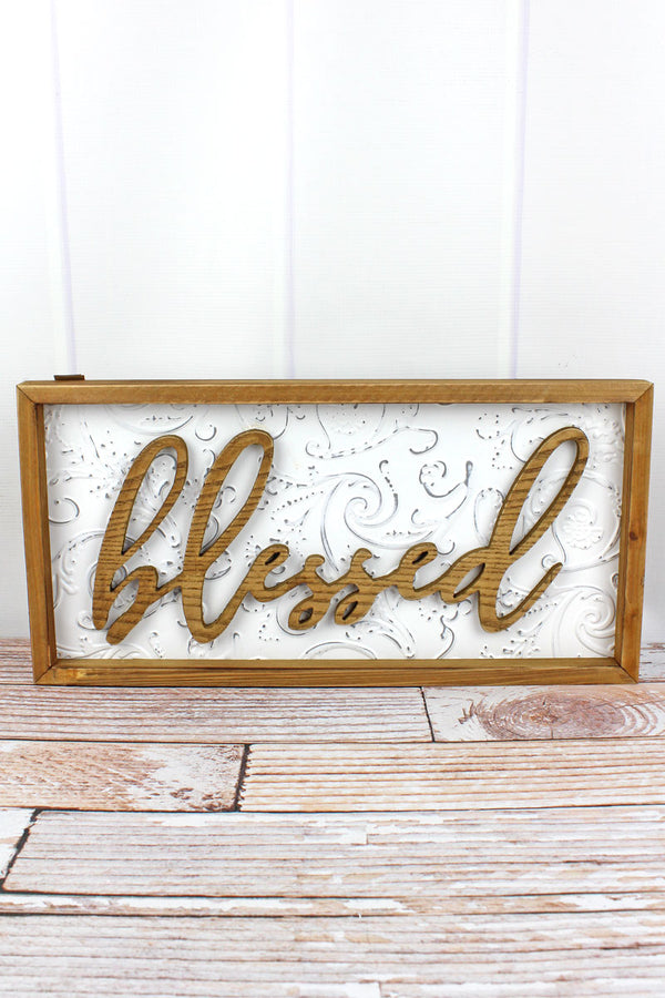 10 x 20 'Blessed' Wood Framed Embossed Tin Wall Sign