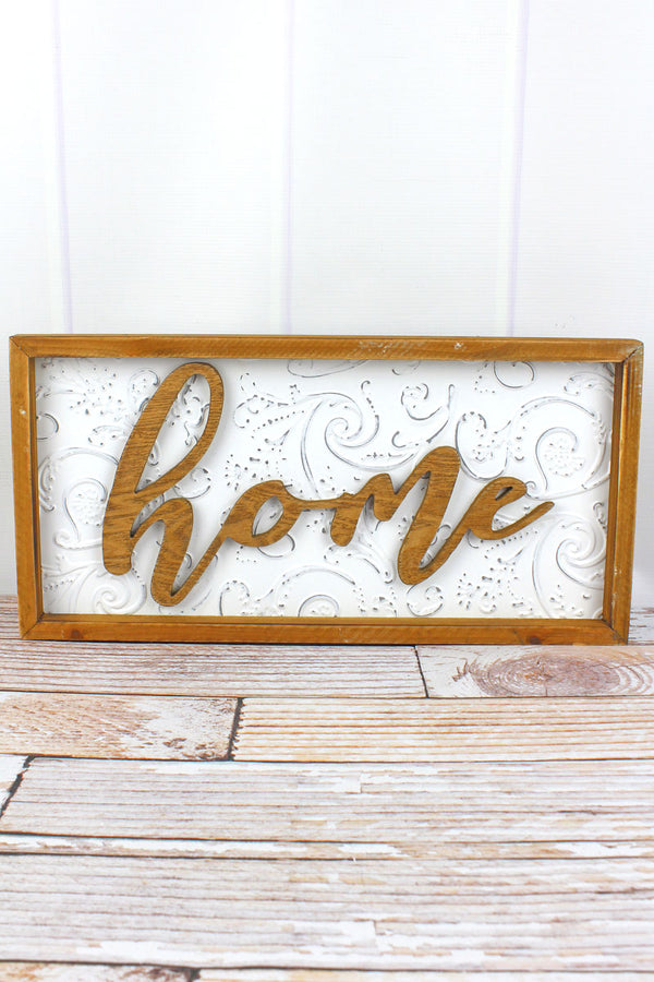 10 x 20 'Home' Wood Framed Embossed Tin Wall Sign
