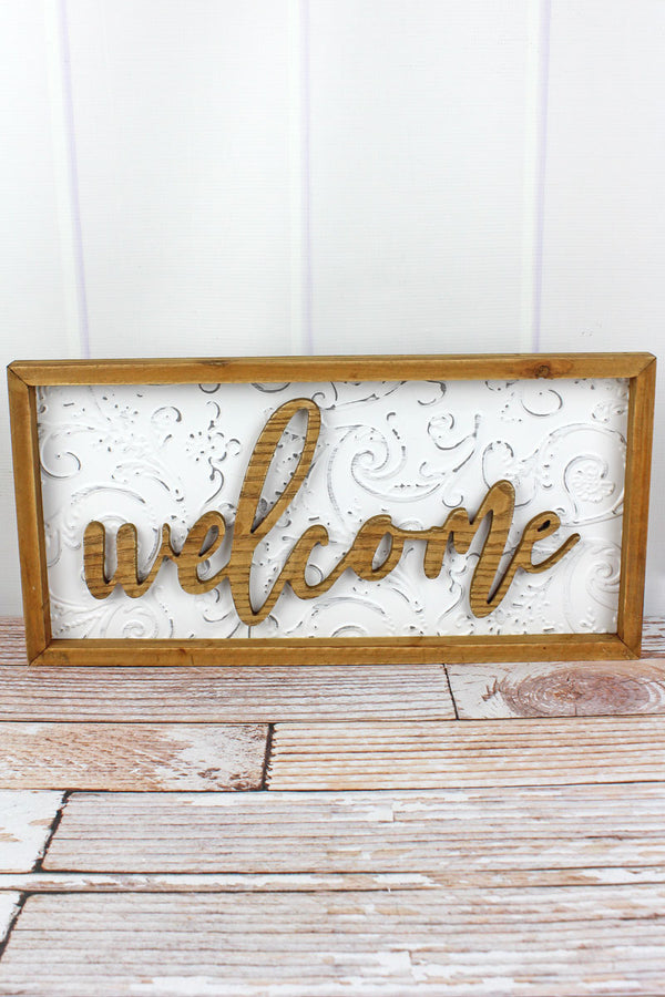 10 x 20 'Welcome' Wood Framed Embossed Tin Wall Sign