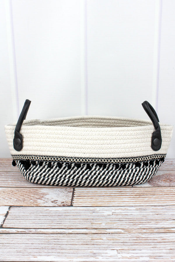 5.5 x 12 Black and White Cotton Rope Pom Pom Basket