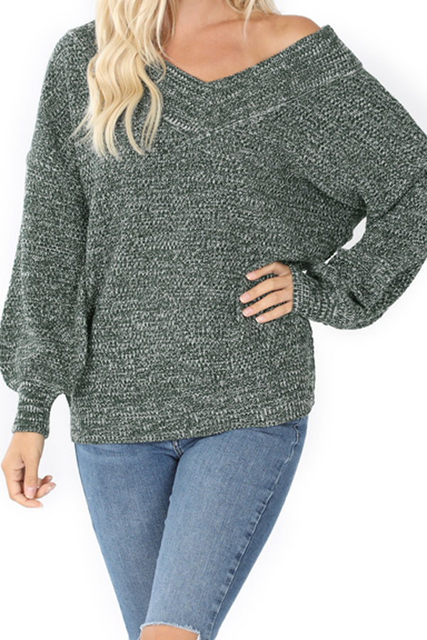 Hunter Green Balloon Sleeve Wide Double V-Neck Sweater