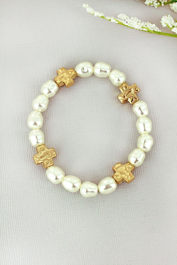 Crave Freshwater Pearl and Worn Goldtone Cross Stretch Bracelet