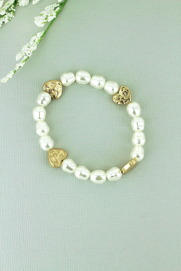 Crave Freshwater Pearl and Worn Goldtone Heart Stretch Bracelet