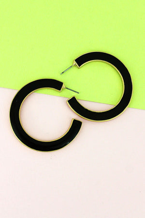 Crave Black and White Reversible Hoop Earrings