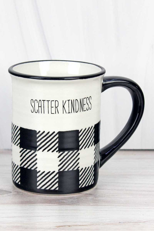 Ceramic 'Scatter Kindness' Black Buffalo Plaid Mug