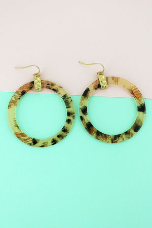 Goldtone Leopard Flat Hoop Earrings