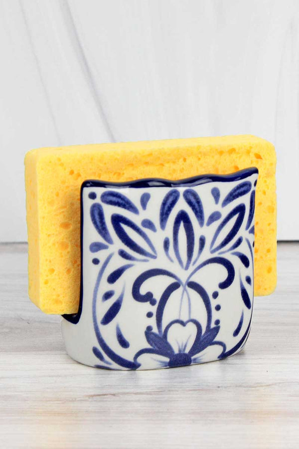 3.25 x 3.25 Blue Talavera Sponge Holder with Sponge Set