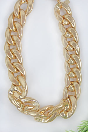 Goldtone Chunky Curb Chain Necklace