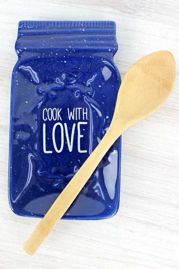 6.5 x 3.75 Blue Ceramic 'Cook With Love' Mason Jar Spoon Rest with Spoon Set