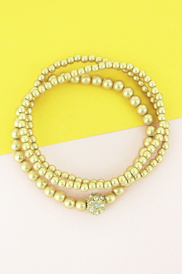 Crystal Pave Ball and Goldtone Beaded Bracelet Set