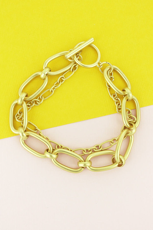Matte Goldtone Double Chain Link Toggle Bracelet