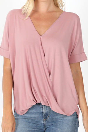 Light Rose Rayon Crepe Draped Front Top